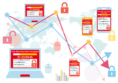 Displaying screens infected with the Ransomware virus PC and globalization-Flat design illustration