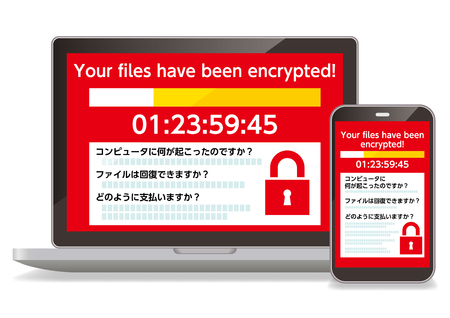 A computer infected with the Ransomware virus and a smartphone Standard-Bild - 116226831