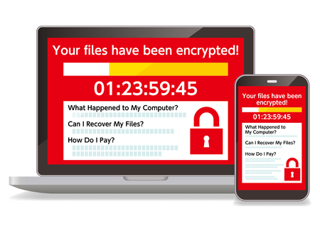 A computer infected with the Ransomware virus and a smartphone