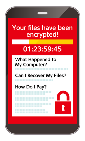 A smartphone infected with the Ransomware virus Stok Fotoğraf
