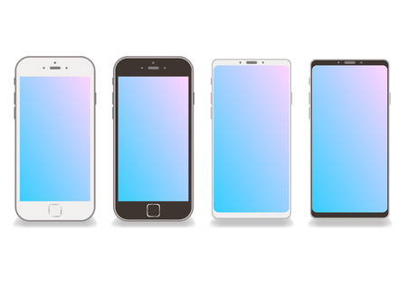 Black and white smartphone frame vector white background-colorful gradation copy space on screen Illustration