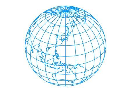 Terre sphérique bleue