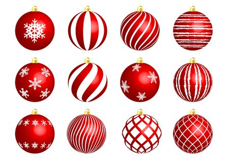 red christmas ornament set