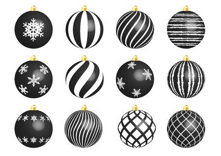 Black christmas ornament set