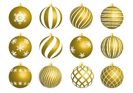 gold christmas ornament set