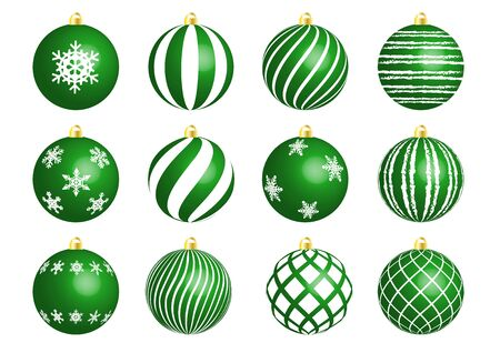 Green christmas ornament set Imagens - 132723928