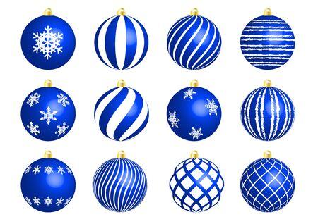 Blue christmas ornament set