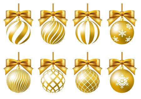 gold christmas ornament set crystal of snow ribbon