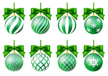 green christmas ornament set crystal of snow ribbon Ilustração