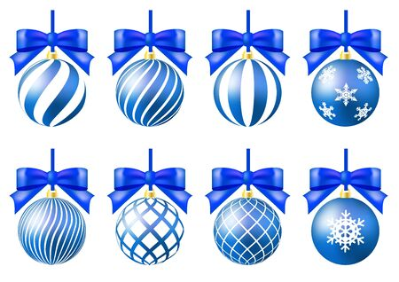 blue christmas ornament set crystal of snow ribbon