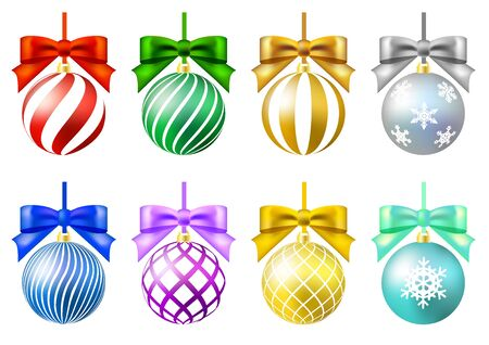 colorful christmas ornament set crystal of snow ribbon