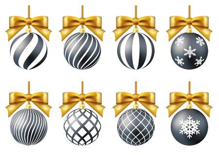 black and gold christmas ornament set crystal of snow ribbon Ilustração