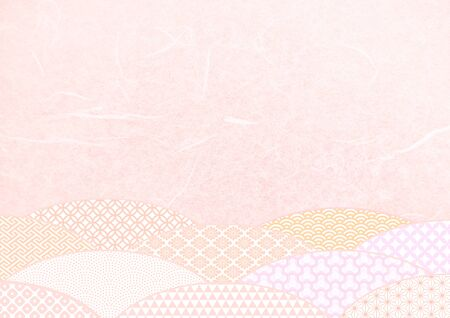 Japanese pattern and pink Japanese paper texture material Imagens - 134391185