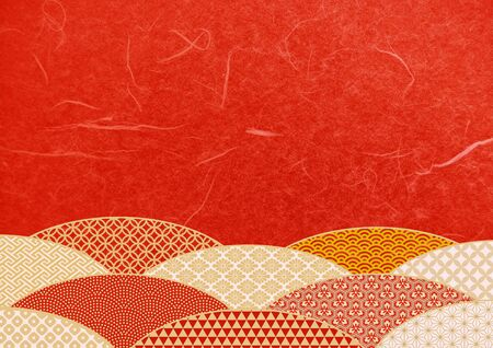 Japanese pattern and red Japanese paper texture material Imagens - 134391186