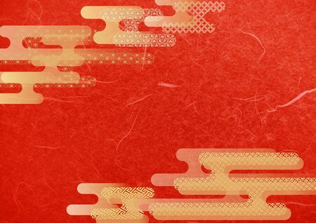 Japanese pattern and red Japanese paper texture material Imagens