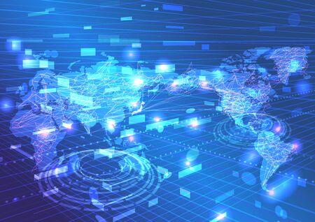 Red mundial e imagen de fondo digital cibernética azul