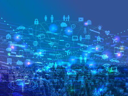 Imagen de icono de ciberespacio azul de red digital