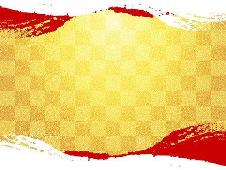 Japanese pattern and gold and red paper texture background Imagens