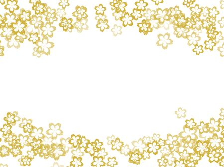 Japanese Pattern and Gold Paper Texture Background-Cherry Blossom Imagens
