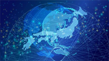 Cyber Digital Earth and Japanese network image background Imagens