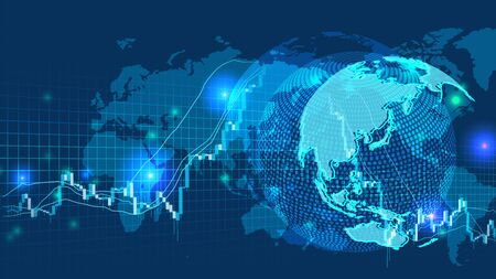 Cyber Digital Earth and world  network image background and stock market