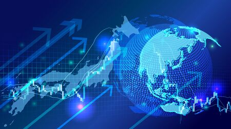 Cyber Digital Earth and Japanese network image background and stock market