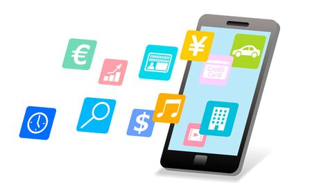 Smartphone and app icon image Imagens