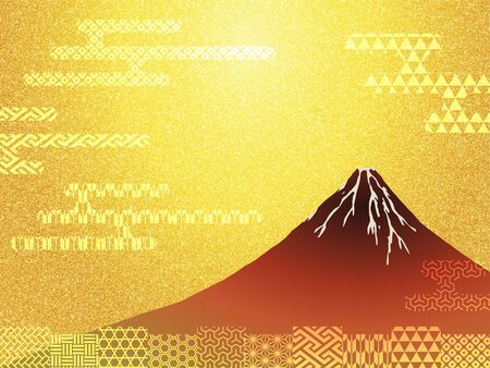 Mt.Fuji and Japanese traditional paper texture Imagens