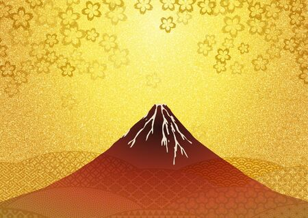Mt.Fuji and cherry blossom traditional Japanese paper texture Imagens