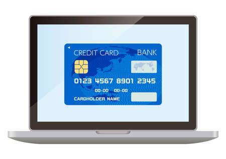 Credit cards and computers that can be used for cashless payments Ilustrace