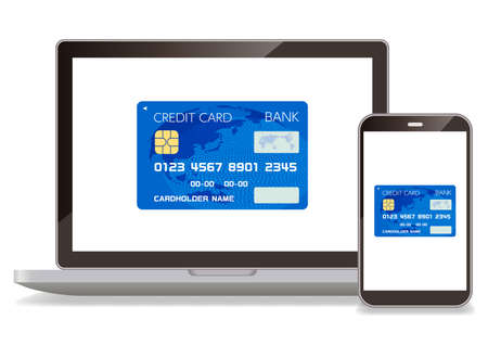 Credit cards and computers and smartphones that can be used for cashless payments Ilustrace