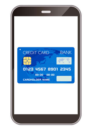 Credit cards and smartphones that can be used for cashless payments