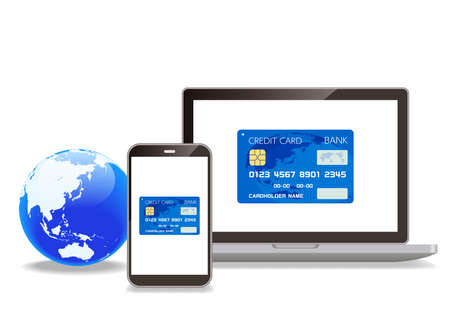 Credit cards and computers, smartphones, and networks that can be used for casless payments Ilustrace