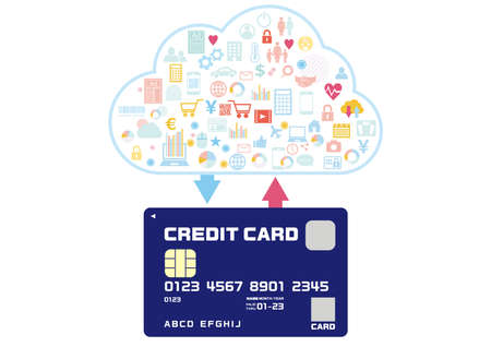 A variety of content purchased with credit cards that can be used for cashless payments Ilustrace