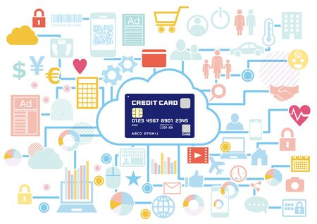 A variety of content purchased with credit cards that can be used for cashless payments Illustration