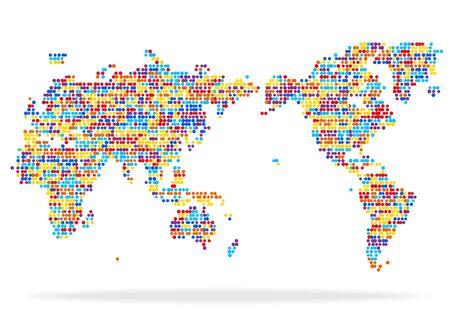 Colorful world map and white background Ilustracja