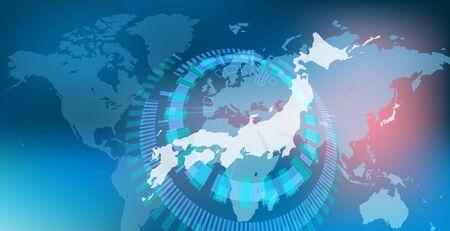 Cyber digital china network earth background geometry image
