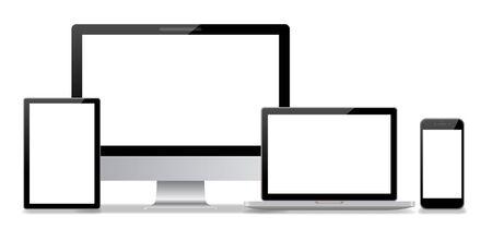 Computer desktop e smartphone sfondo bianco Vettoriali
