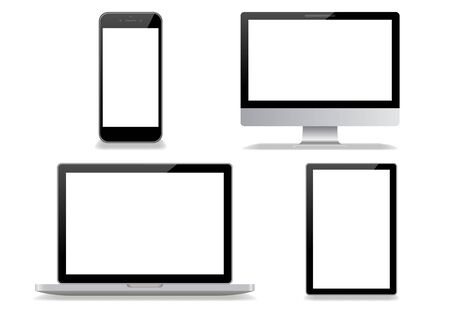 Desktop computer and smartphone white background