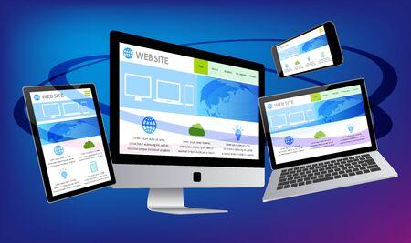 Desktop Computer Displaying Web Page-blue background
