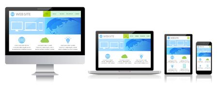 Desktop Computer Displaying Web Page-white Background