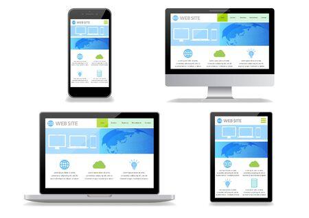 Desktop Computer Displaying Web Page-white Background Vector Illustratie