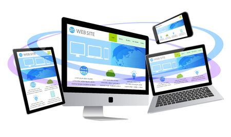 Desktop Computer Displaying Web Page-white Background
