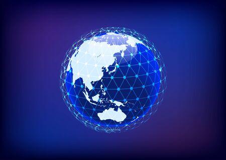Blue digital network sphere image