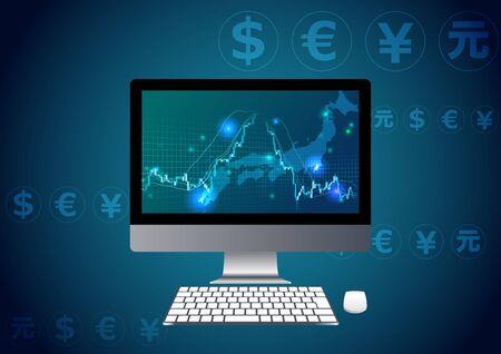 stock chart blue background digital image