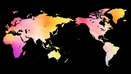 World Map pink Watercolor Texture Background - Black Background