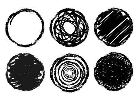 Crayon, Pen Drawn Circular Texture Background Set 矢量图像