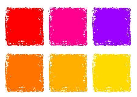 Red Yellow Orange Crayon Rectangle Texture Background Set