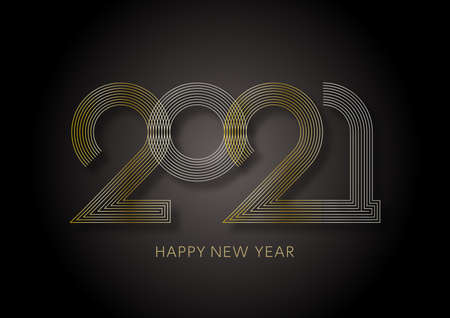 2021 New Year's card - gold and silver geometric pattern image on a black background