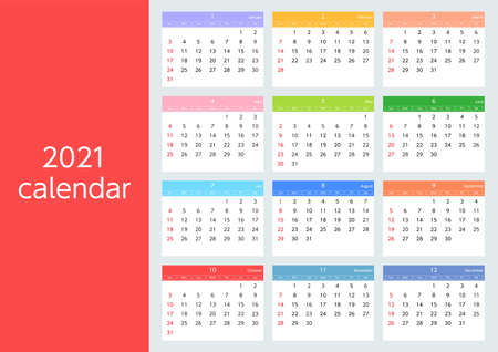 Sunday Beginnings Colorful Calendar for 2021